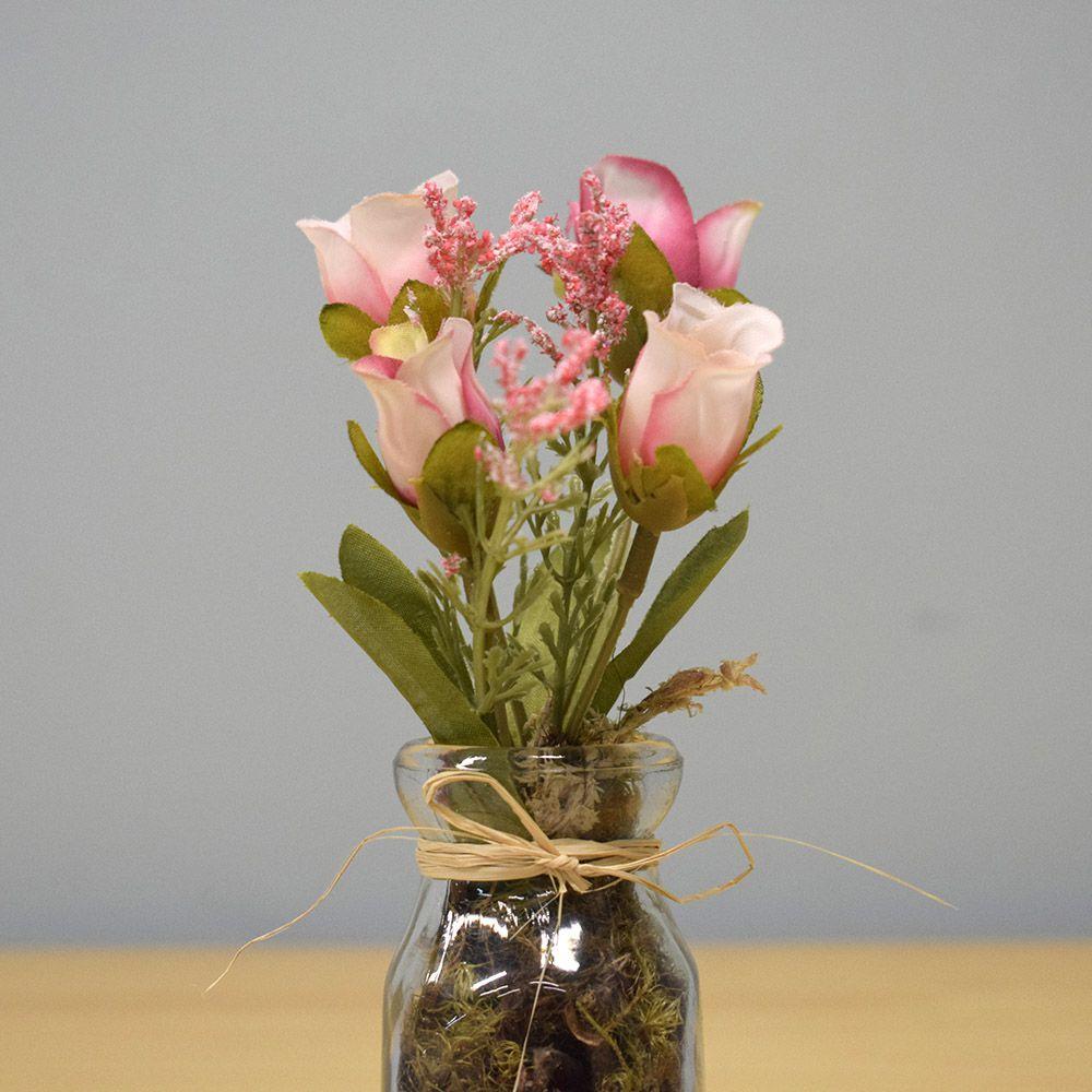 Arranjo de Mini Rosas no Vaso de Vidro|Linha Permanente Formosinha
