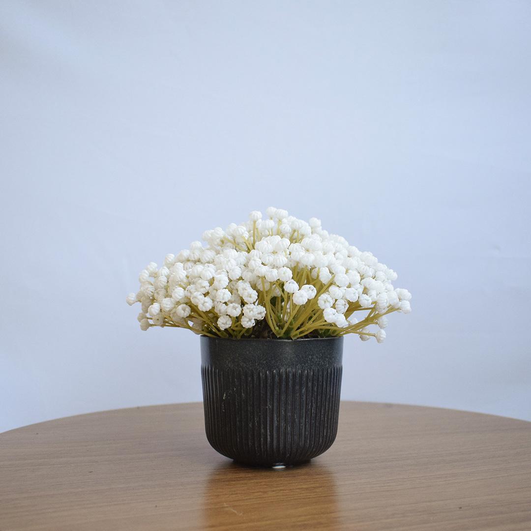 Arranjo Flor Artificial Mosquitinho Branca No Vaso Preto| Formosinha