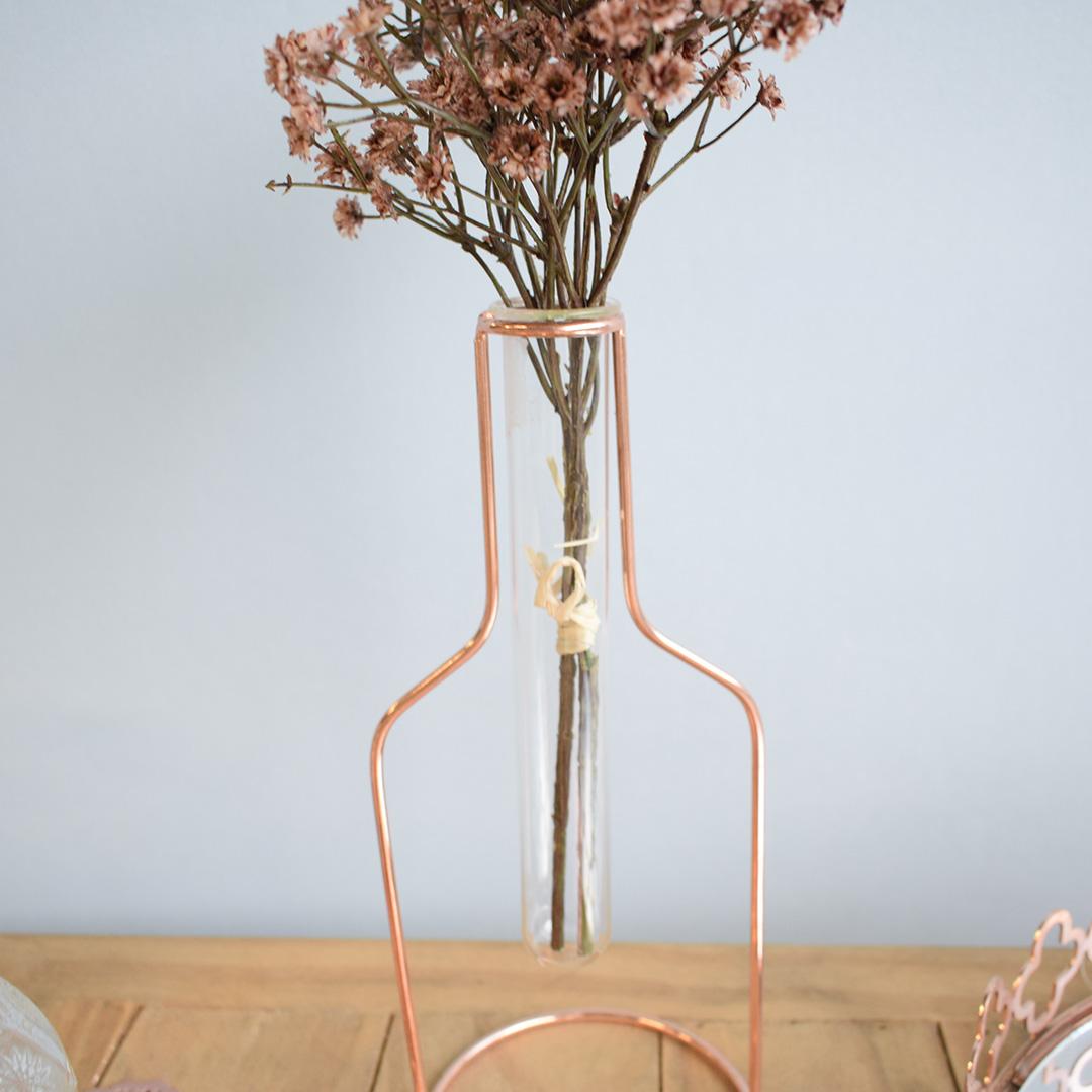 Arranjo de Mosquitinho Flor Artificial no Vaso Tubo Rose Gold