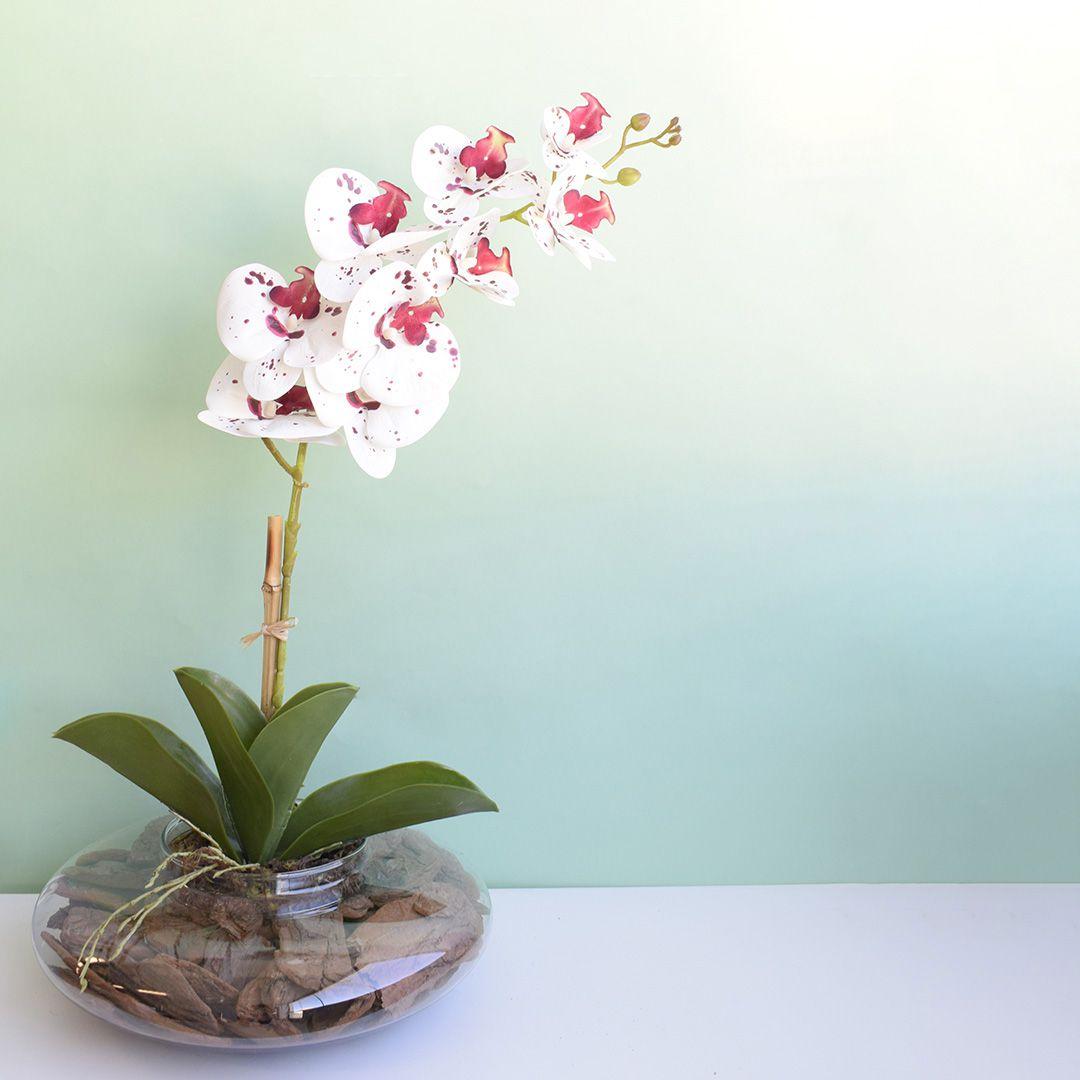 Arranjo de Orquídea Artificial 3D Tigre no Vaso Vidro Transparente | Linha Permanente Formosinha