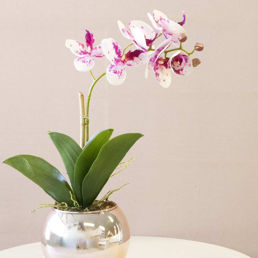 Arranjo de Orquídea Artificial 3D Tigre no Vaso Rose Gold Pequeno   Linha Permanente Formosinha
