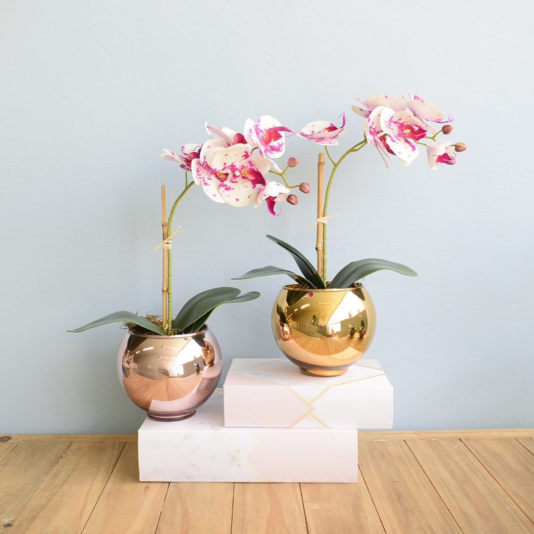 Arranjo de Orquídea Artificial Tigre no Vaso Rose Gold Pequeno | Linha Permanente Formosinha