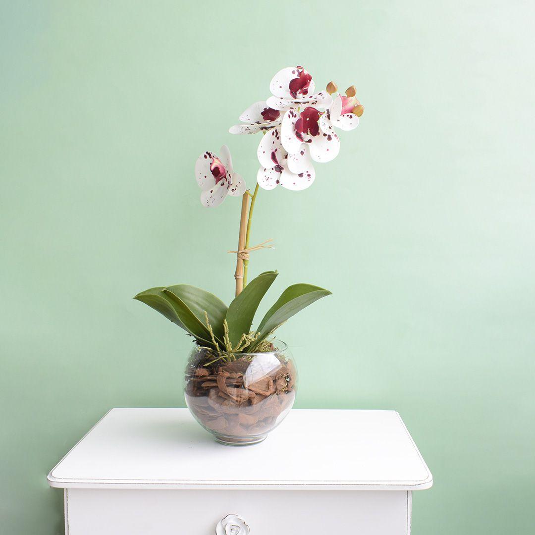 Arranjo de Orquídea Artificial 3D Tigre no Vaso Transparente Pequeno | Linha Permanente Formosinha