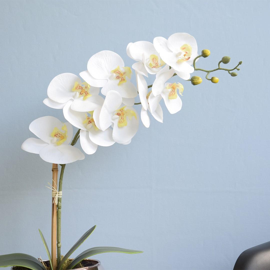 Arranjo de Orquídea Artificial Branca 3D no Vaso de Vidro Rose Gold Médio
