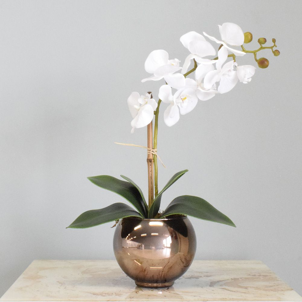 Arranjo de Orquídea Artificial Branca no Vaso Bronze