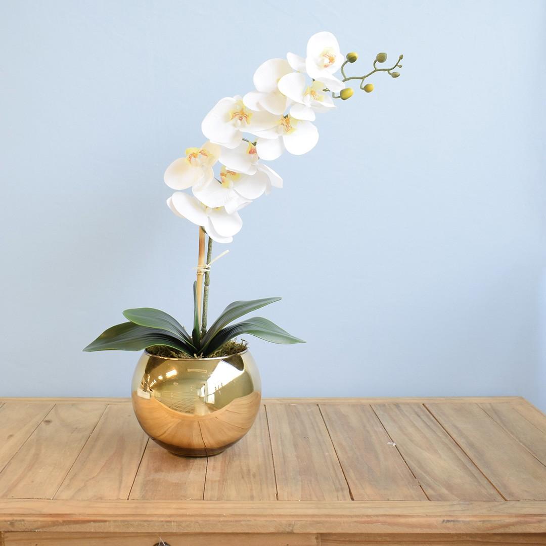 Arranjo de Orquídea Artificial Branca no Vaso Dourado Médio | Formosinha