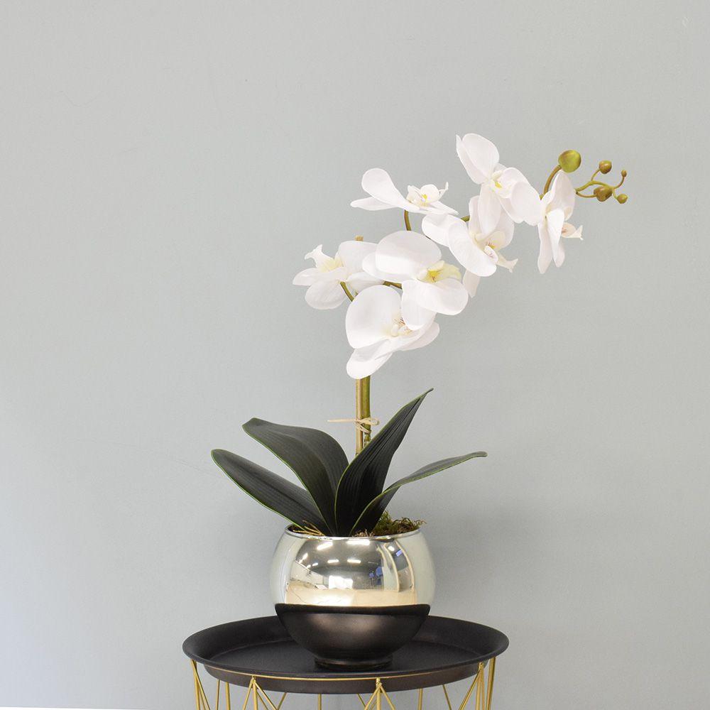 Arranjo de Orquídea Artificial Branca no Vaso Espelhado