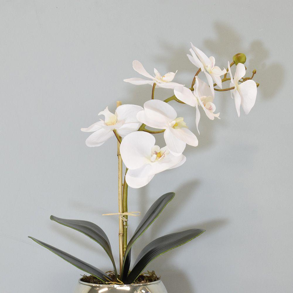 Arranjo de Orquídea Artificial Branca no Vaso Espelhado Pequeno |Linha Permanente Formosinha