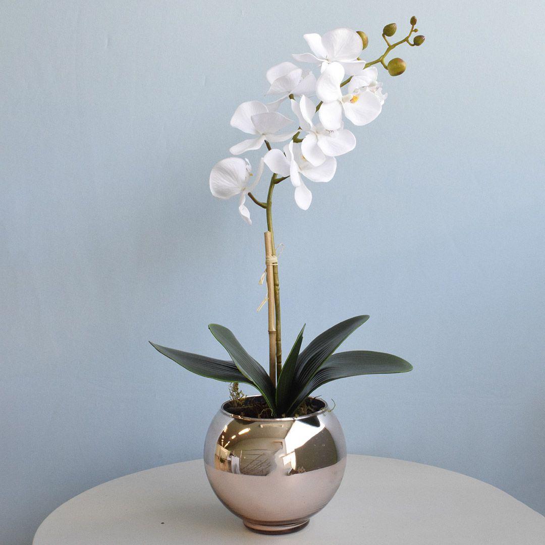 Arranjo de Orquídea Artificial Branca no Vaso Rose Gold Pequeno