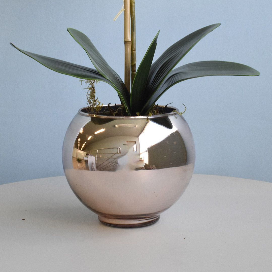 Arranjo de Orquídea Artificial Branca no Vaso Rose Gold Pequeno