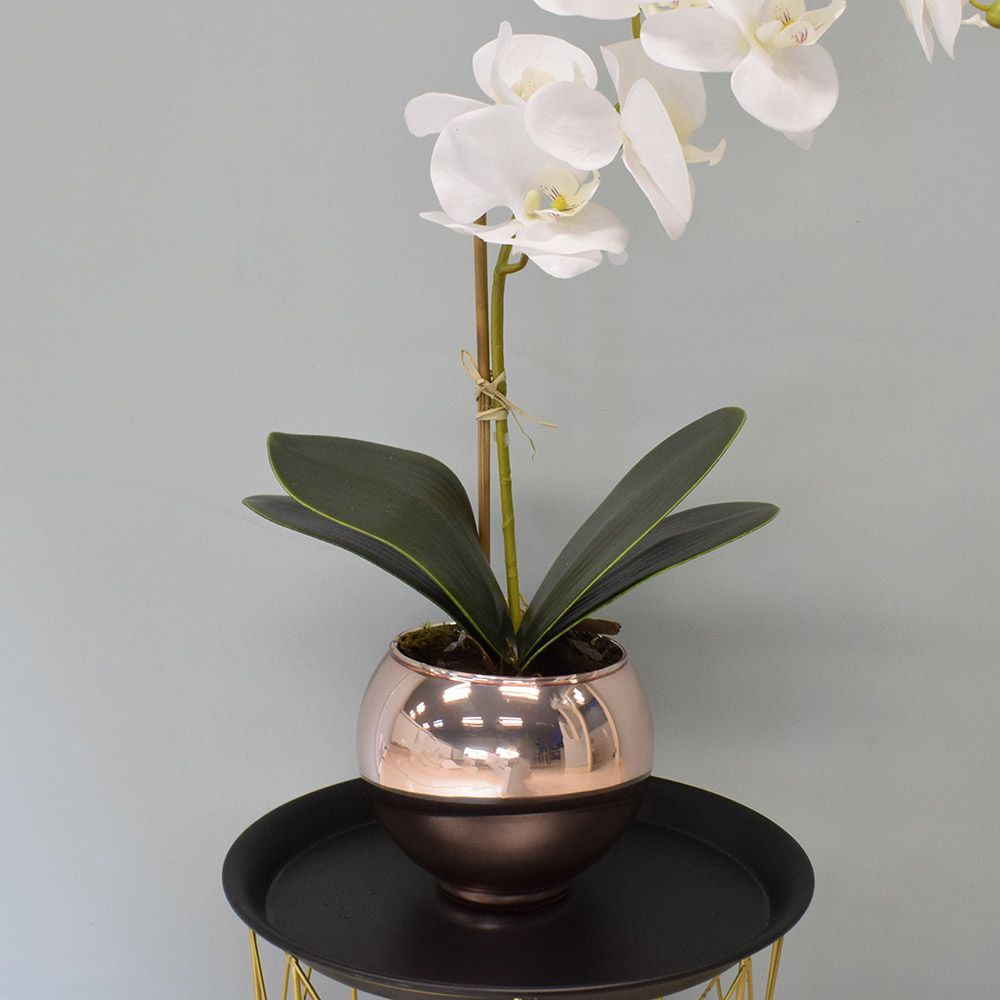 Arranjo de Orquídea Artificial Branca no Vaso Rose Gold