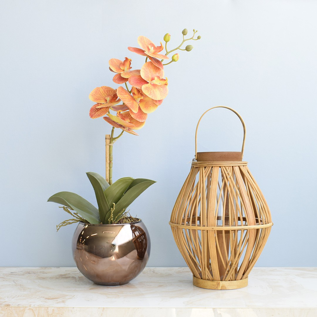 Arranjo de Orquídea Artificial Laranja 3D no Vaso de Vidro Bronze Médio