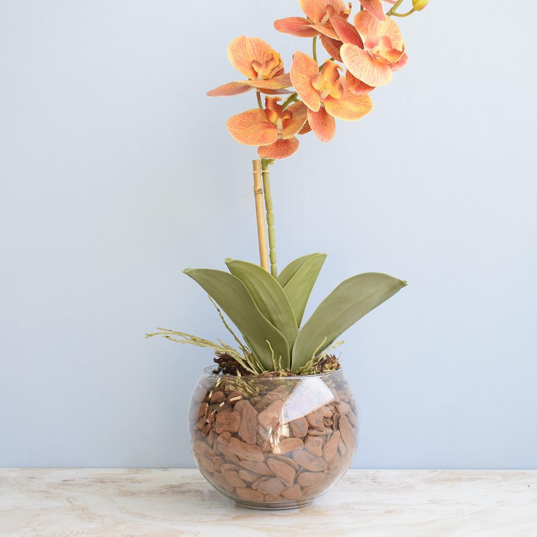 Arranjo de Orquídea Artificial Laranja 3D no Vaso de Vidro Médio