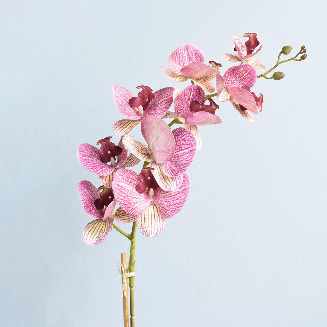 Arranjo de Orquídea Artificial Rosa 3D no Vaso de Vidro Bronze Médio