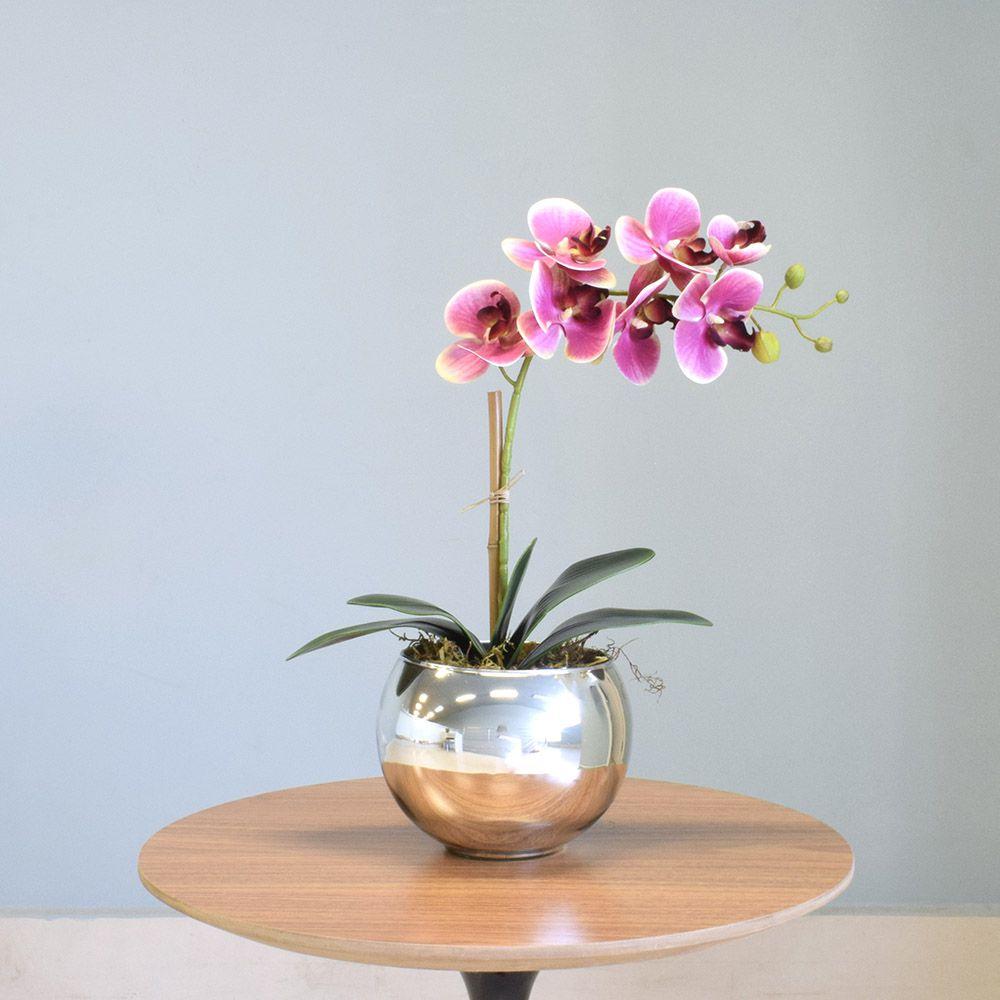 Arranjo de Orquídea Artificial Rosa no Vaso Prateado Médio | Linha Permanente Formosinha