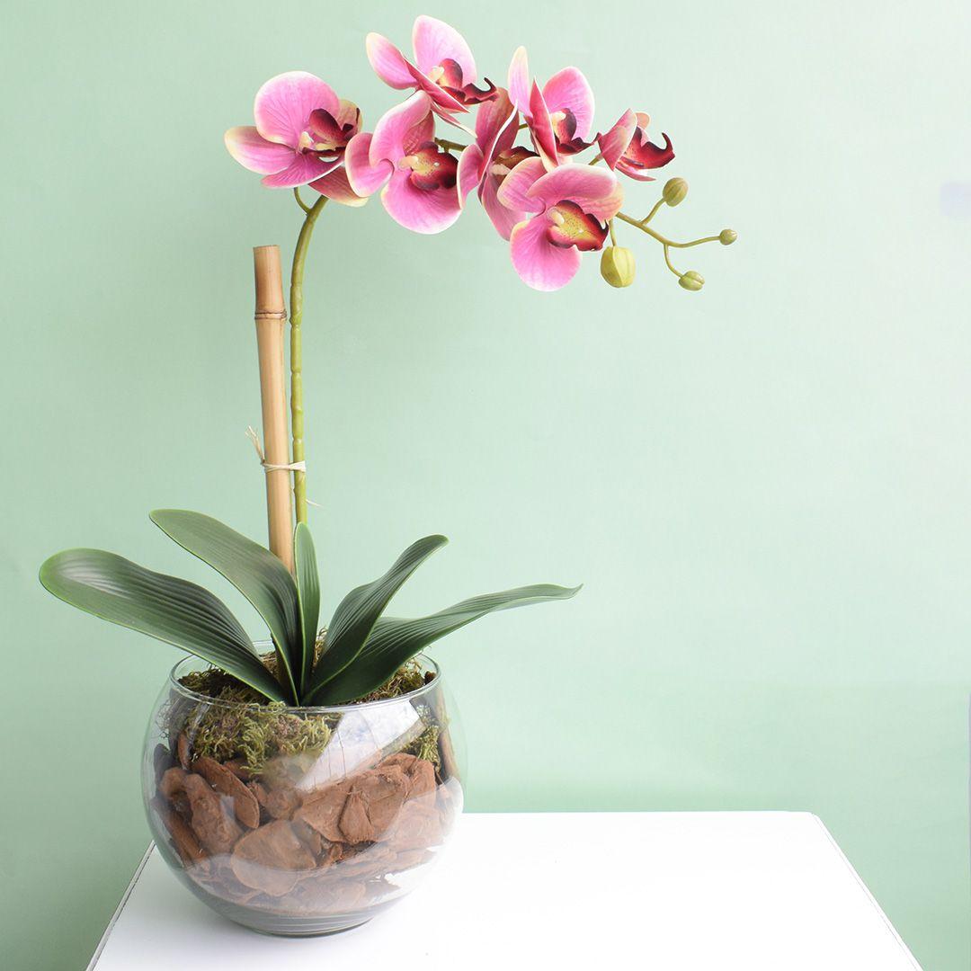 Arranjo de Orquídea Artificial Rosa no Vaso Transparente Médio | Linha Permanente Formosinha