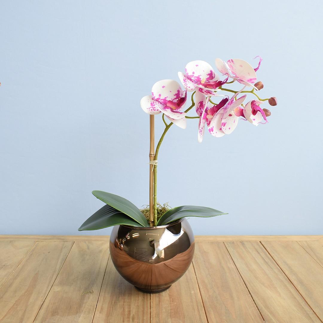 Arranjo de Orquídea Artificial Tigre 3D no Vaso Bronze Pequeno| Linha Permanente Formosinha
