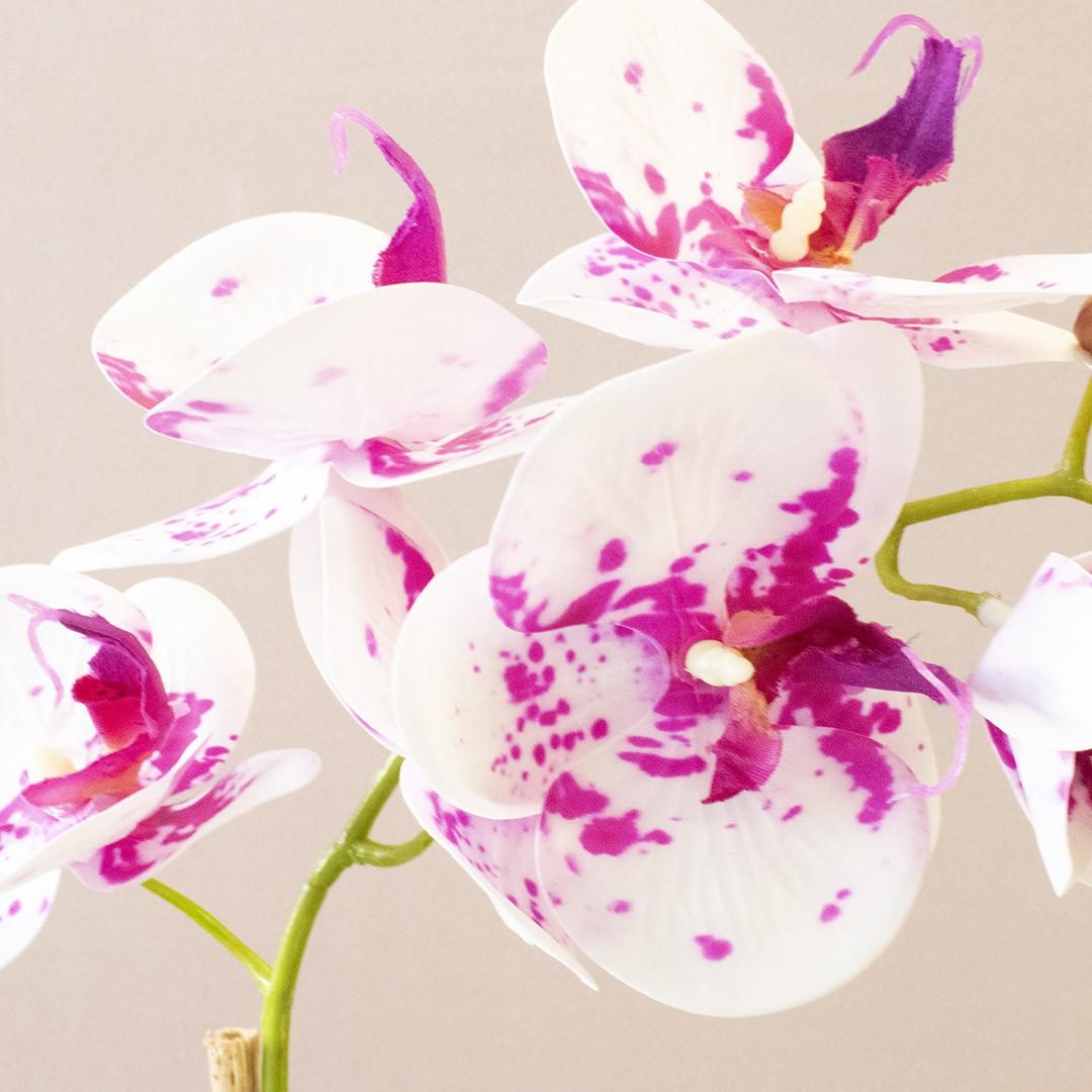 Arranjo de Orquídea Artificial Tigre 3D no Vaso Bronze Pequeno  Linha Permanente Formosinha
