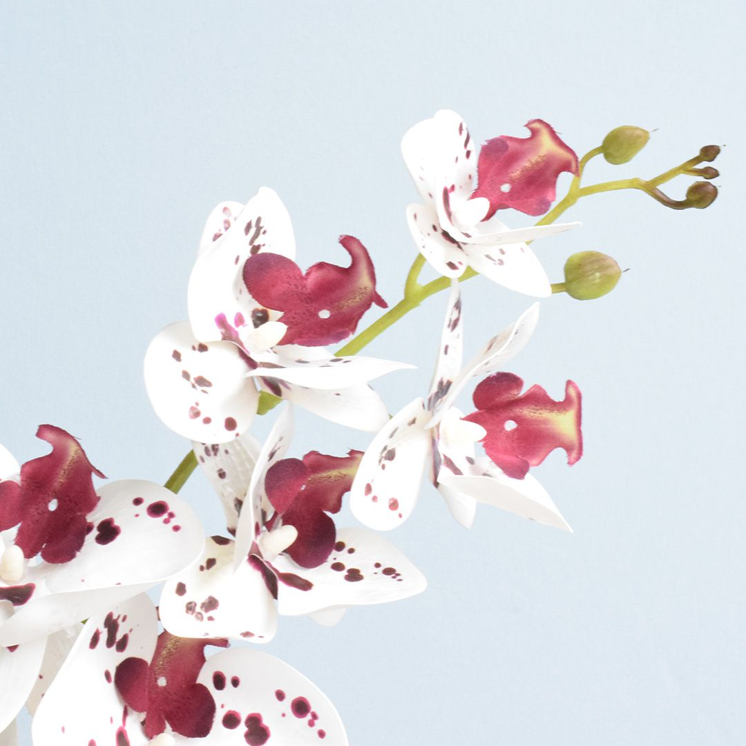 Arranjo de Orquídea Artificial Tigre 3D no Vaso Prateado Médio