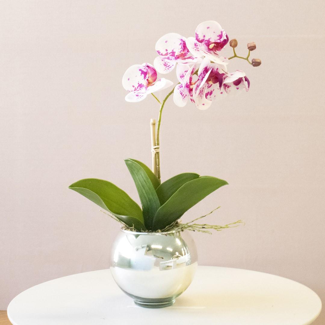 Arranjo de Orquídea Artificial Tigre 3D no Vaso Prateado Pequeno | Linha Permanente Formosinha