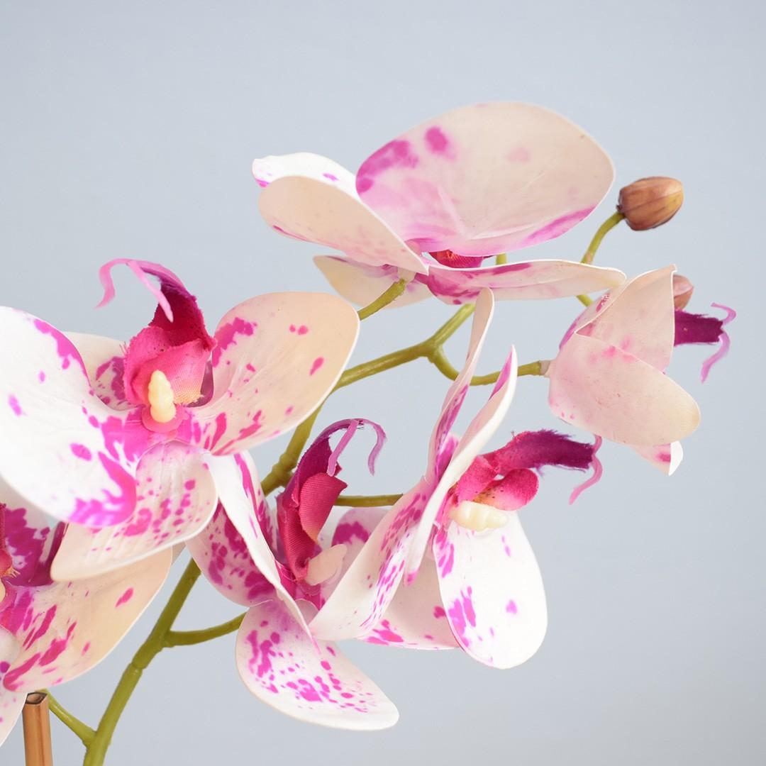 Arranjo de Orquídea Artificial Tigre no Vaso Prateado de Vidro | Linha Permanente Formosinha