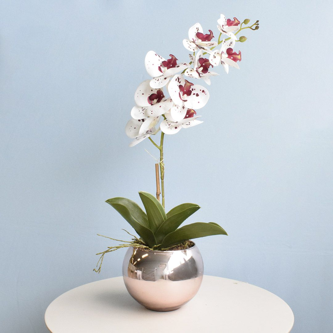 Arranjo de Orquídea Artificial Tigre 3D no Vaso Rose Gold Médio