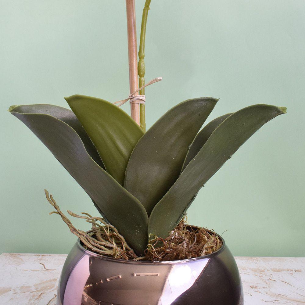 Arranjo de Orquídea Artificial Tigre 3D no Vaso Bronze | Linha Permanente Formosinha