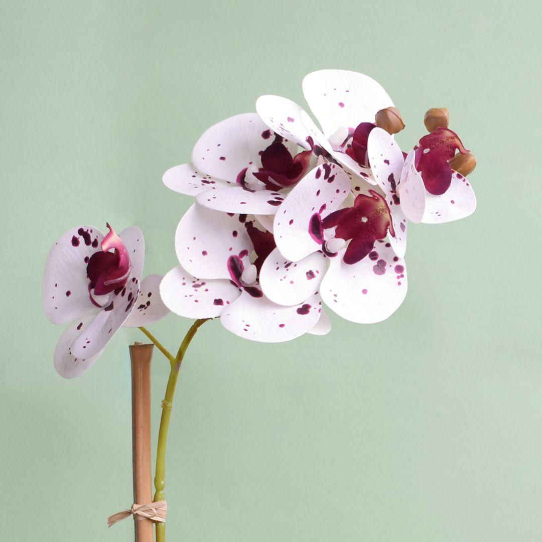 Arranjo de Orquídea Artificial Tigre 3D no Vaso Prateado | Linha Permanente Formosinha