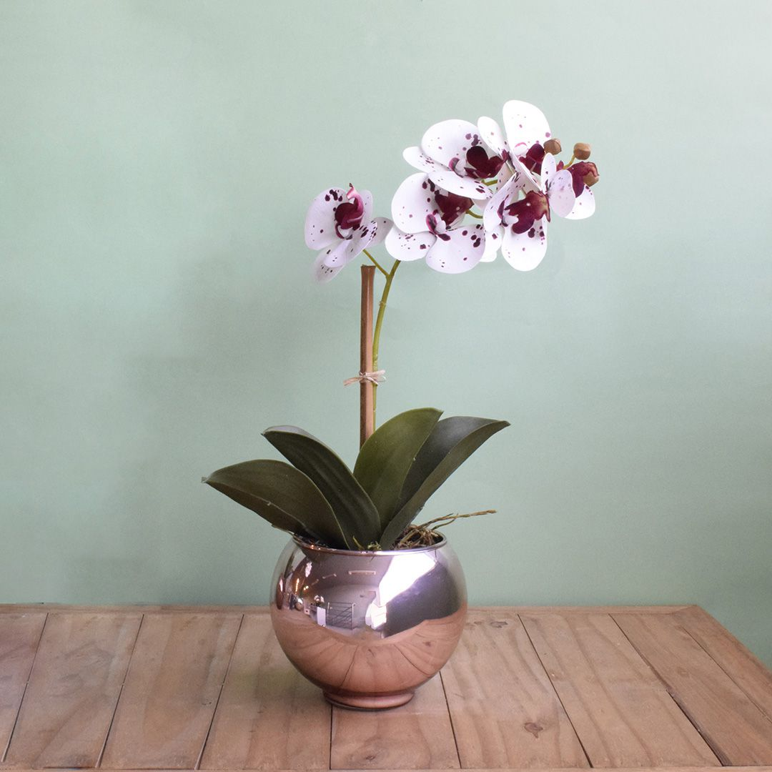 Arranjo de Orquídea Artificial 3D Tigre no Vaso Rose Gold Pequeno | Linha Permanente Formosinha