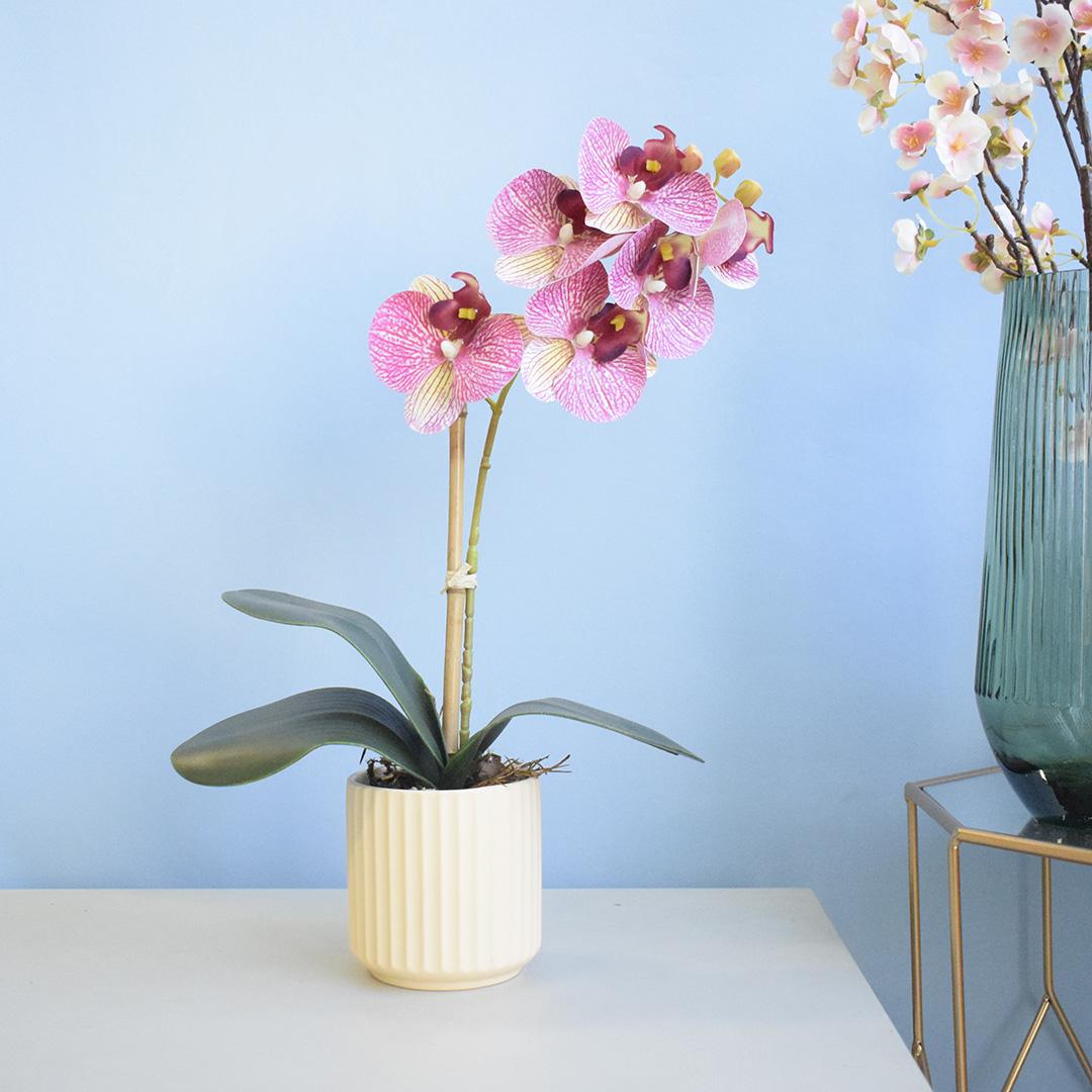 Arranjo de Orquídea Artificial no Vaso Canelado Creme |  Formosinha
