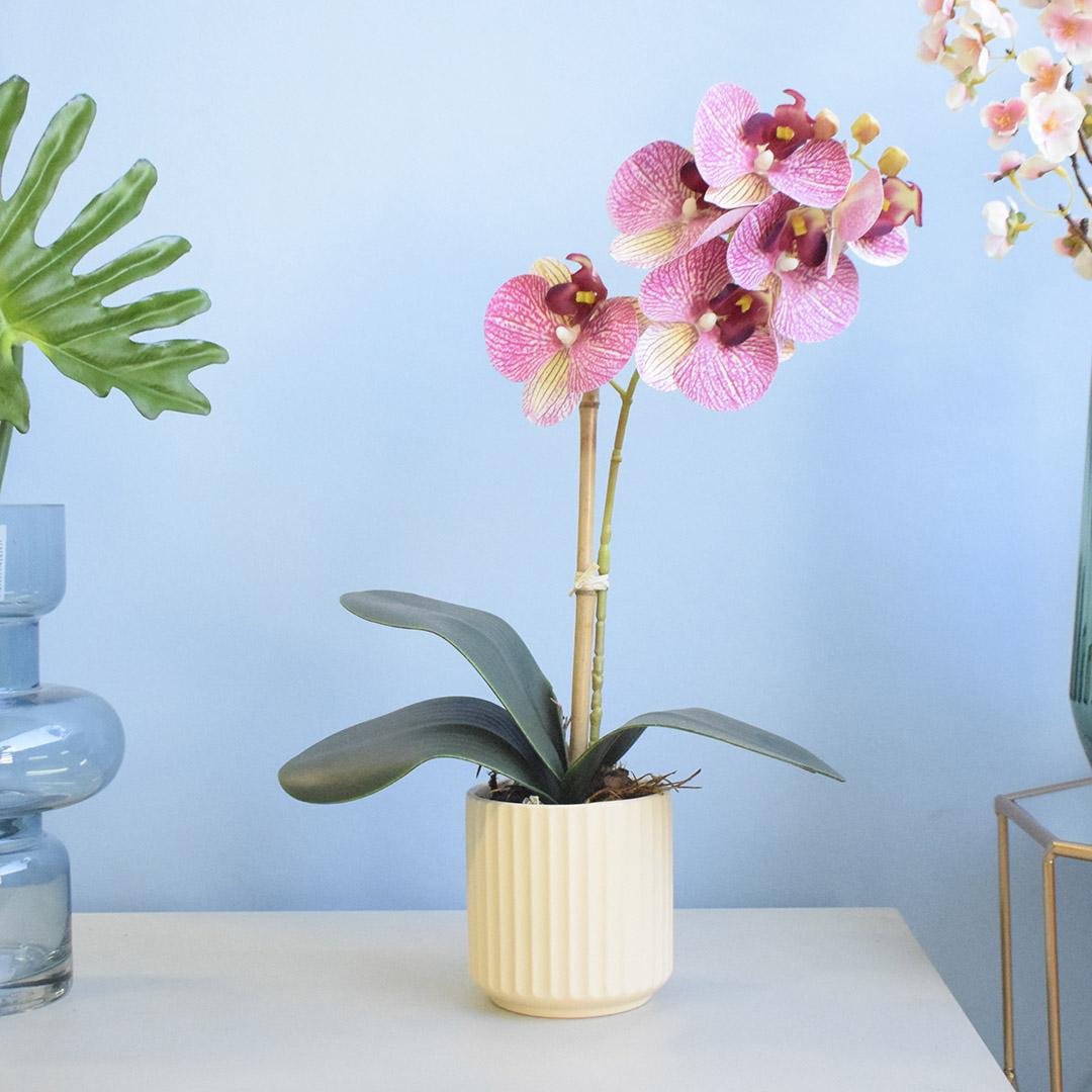 Arranjo de Orquídea Artificial no Vaso Canelado Creme    Formosinha