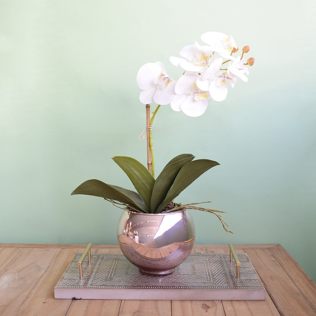 Arranjo de Orquídea Branca 3D no Vaso Rose Gold | Linha Permanente Formosinha