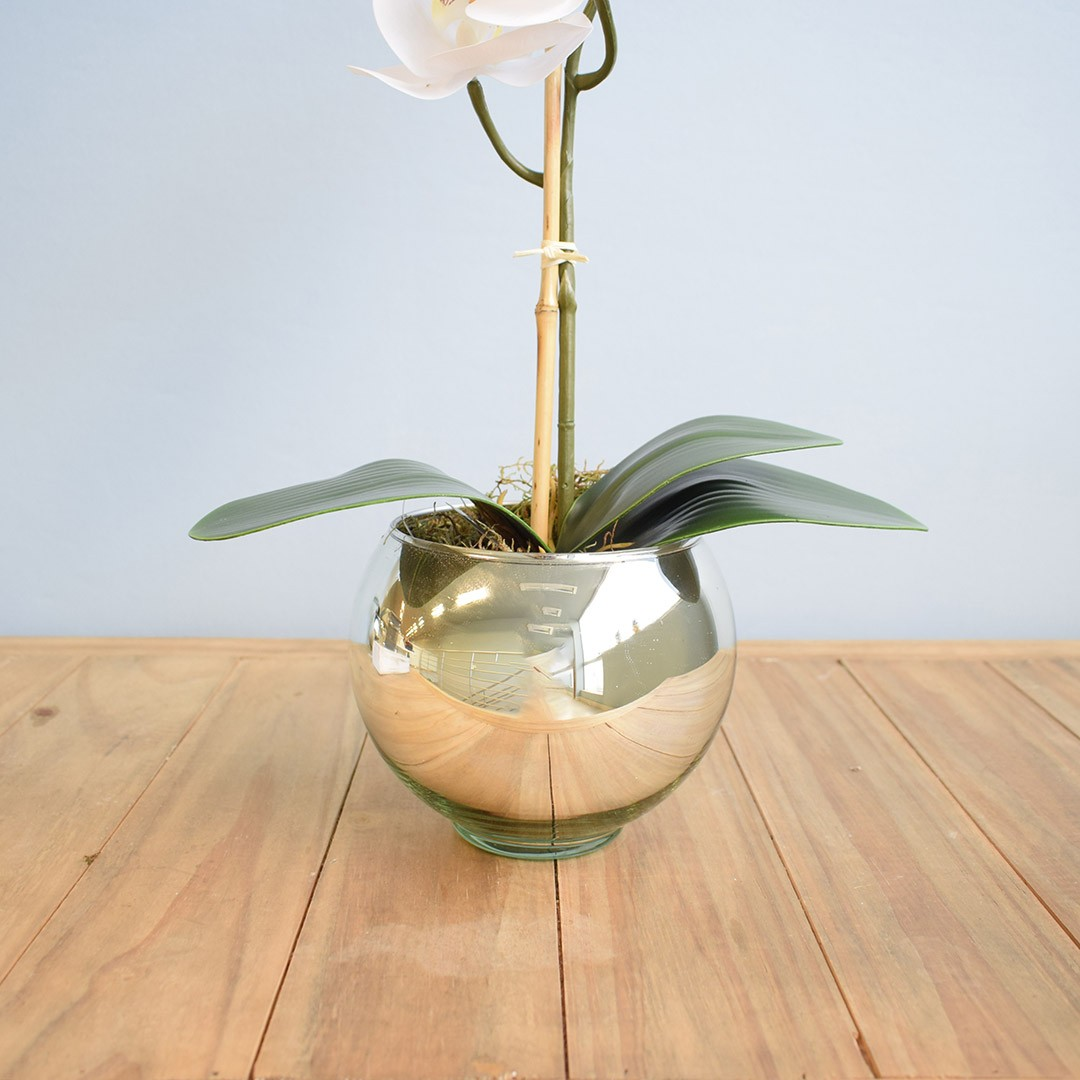 Arranjo de Orquídea Artificial Branca no Vaso de Vidro Prateado | Linha Permanente Formosinha