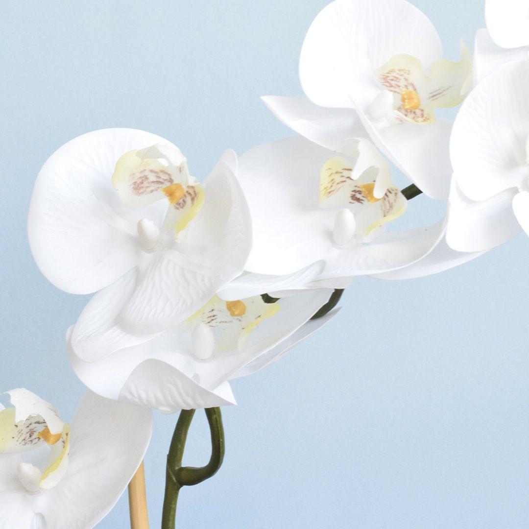 Arranjo Artificial de Orquídea de Silicone Branca no Vaso Rose Gold Pequeno
