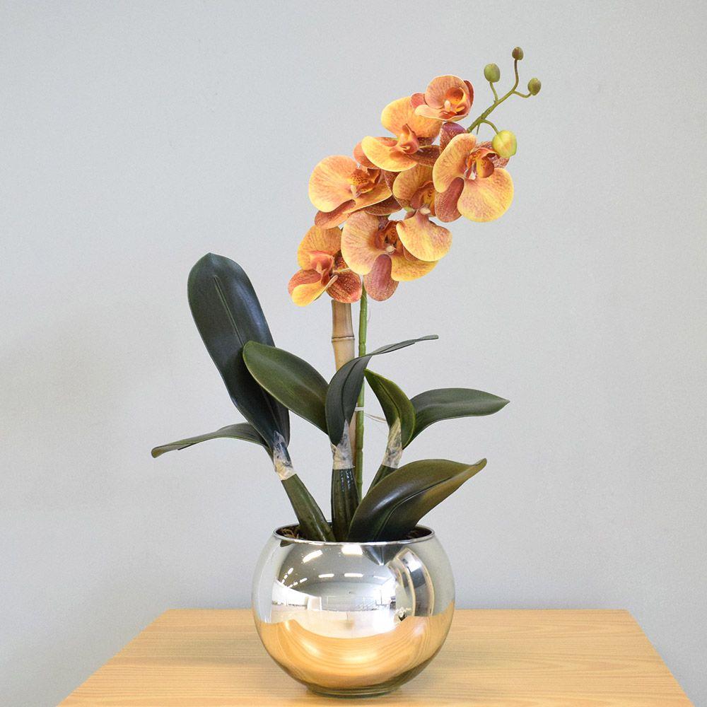 Arranjo de Orquídea Laranja Artificial no Vaso Prateado|Linha Permanente Formosinha