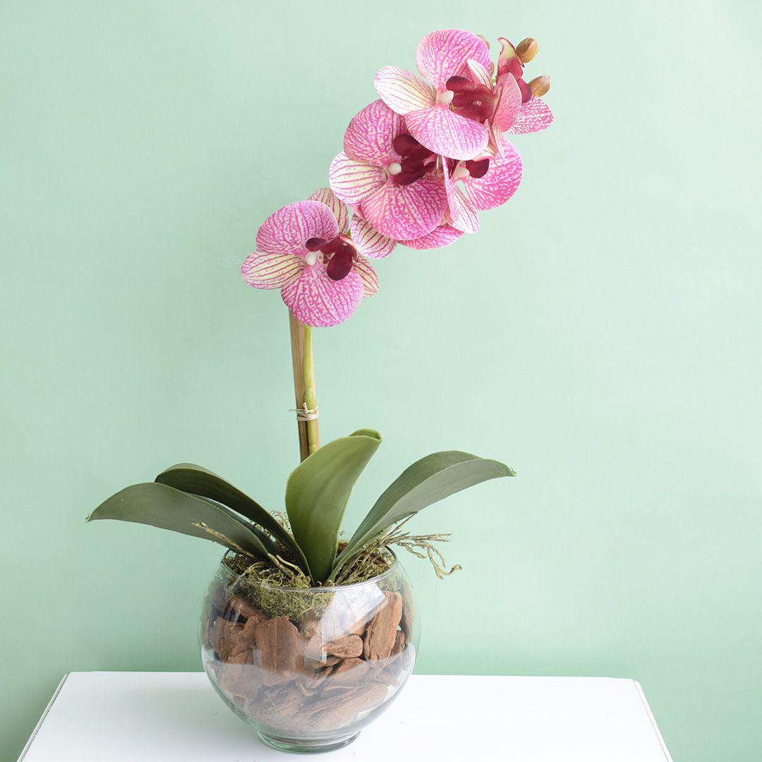 Arranjo de Orquídea Rosa 3D no Vaso de Vidro Pequeno | Linha Permanente Formosinha