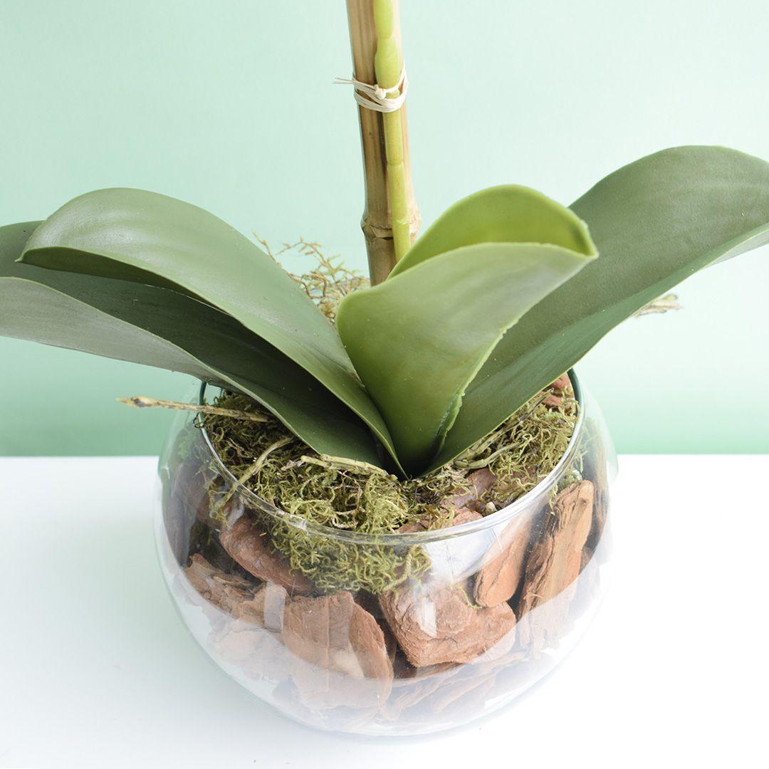 Arranjo Artificial de Orquídea Rosa 3D no Vaso de Vidro Pequeno | Linha Permanente Formosinha