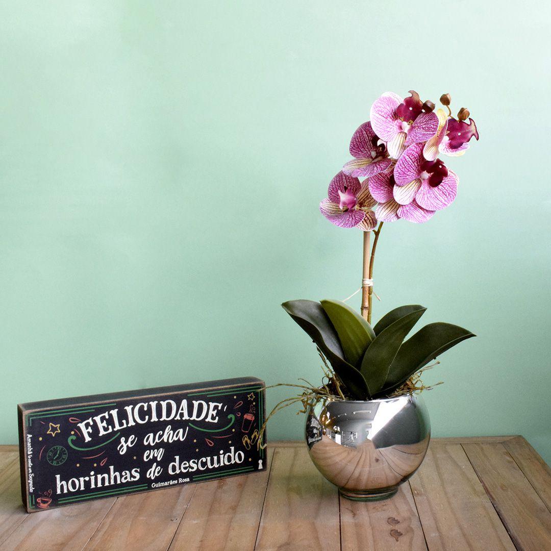 Arranjo de Orquídea Rosa 3D no Vaso Prateado | Linha Permanente Formosinha