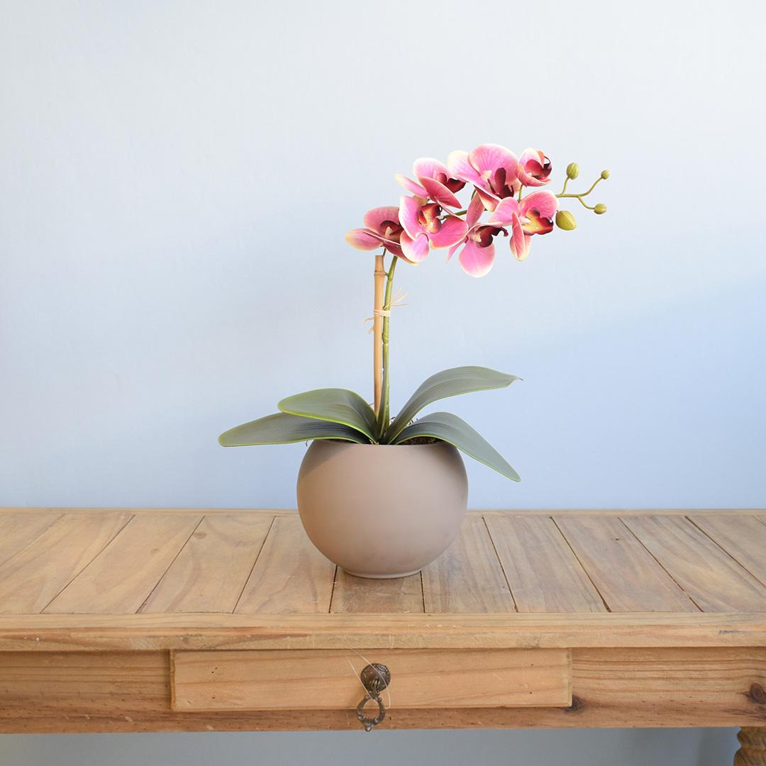 Arranjo de Orquídea Artificial Pink no Vaso Fendi | Formosinha