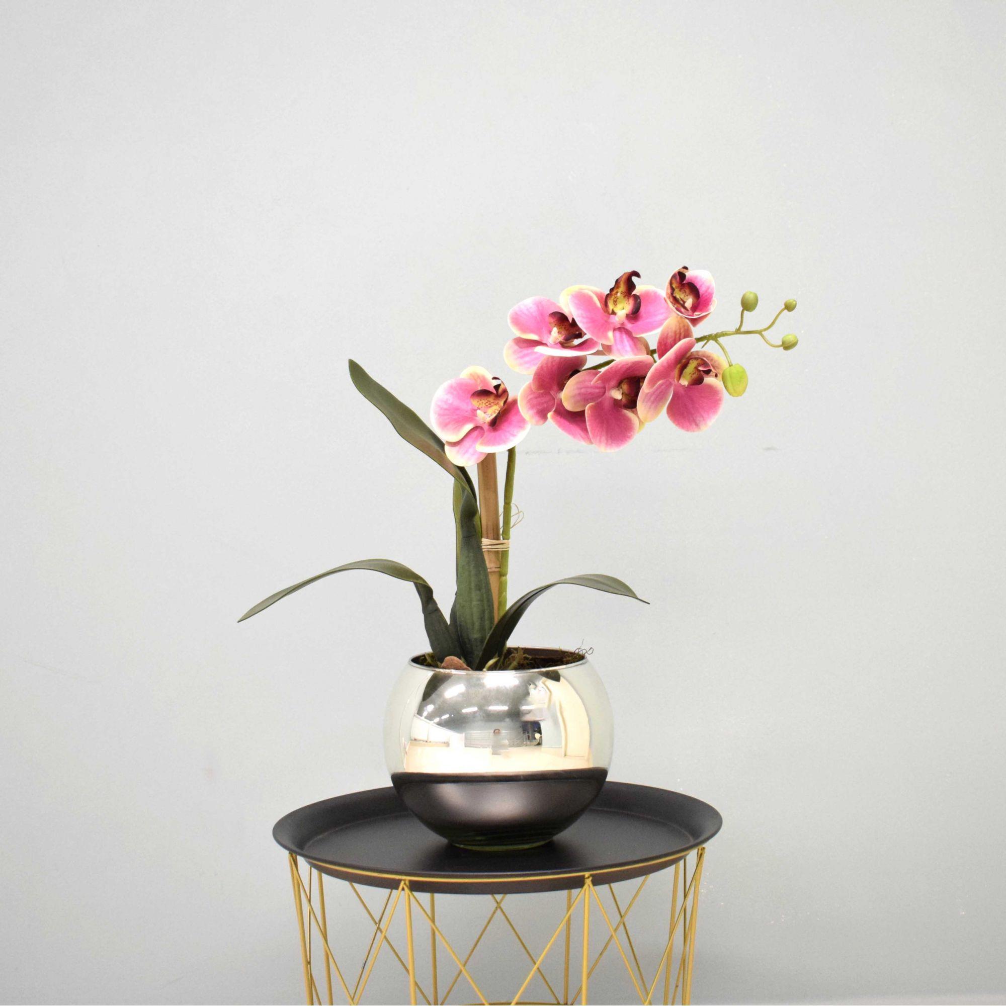 Arranjo de Orquídea Artificial Rosa no Vaso Prateado Médio