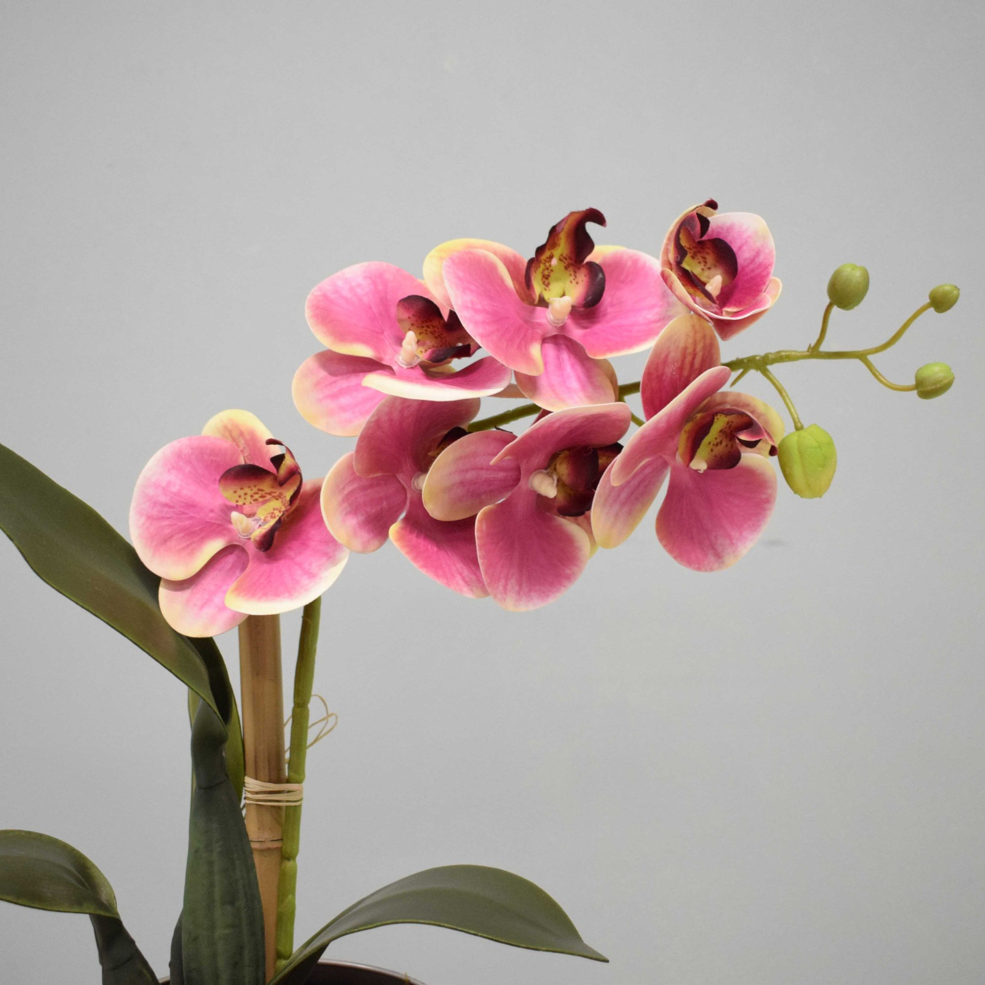 Arranjo de Orquídea Artificial Rosa no Vaso Prateado