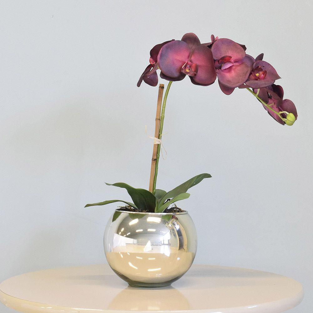Arranjo de Orquídea Vermelha no Vaso Espelhado