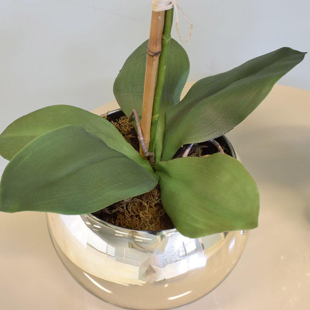 Arranjo de Orquídea Artificial Marsala no Vaso Prateado Médio