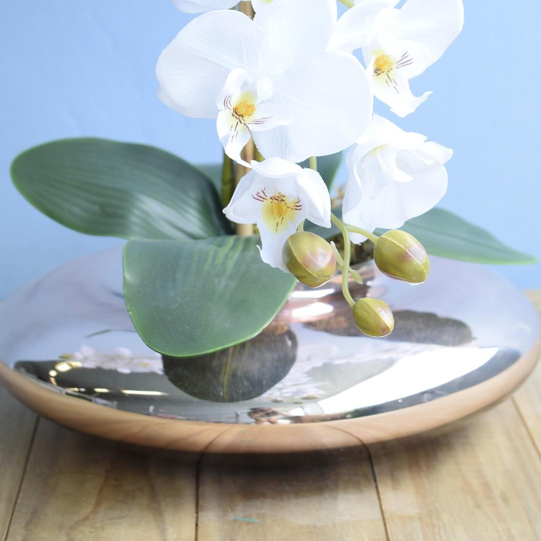 Arranjo de Orquídeas Brancas no Vaso Rose Gold | Linha permanente Formosinha
