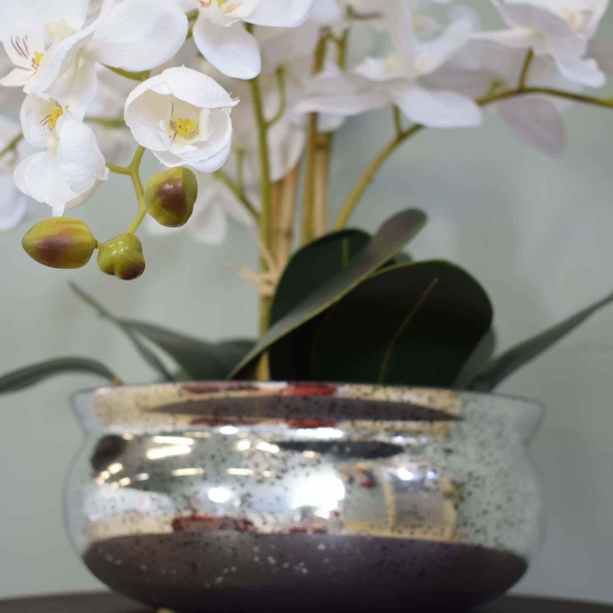 Flores artificiais Arranjo de Orquídeas Branco no Vaso Espelhado
