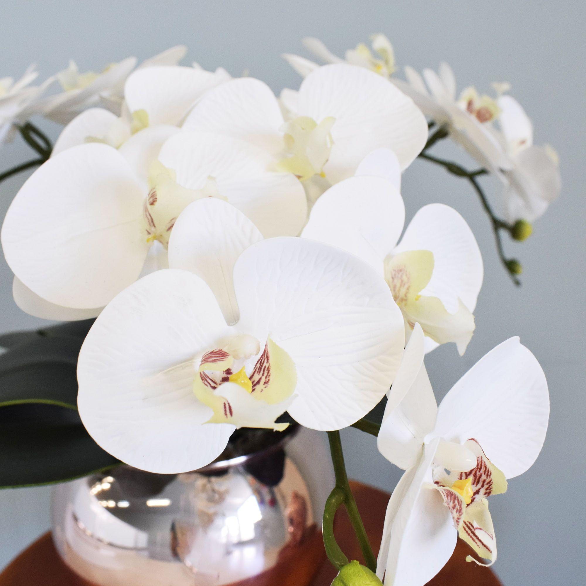 Arranjo de Flores Artificiais |Arranjo de Orquídeas Silicone Brancas no Vaso Rose Gold