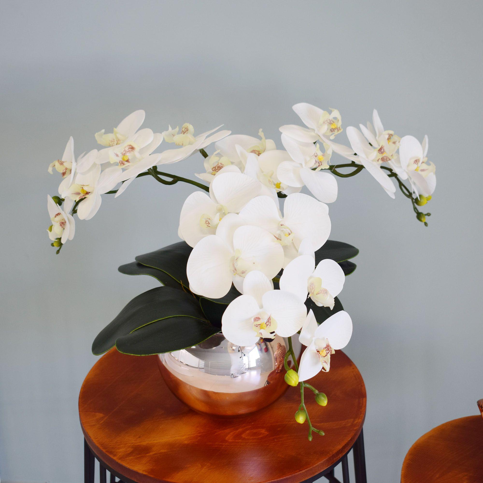 Flores artificiais Arranjo de Orquídeas Branco no Vaso Rose Gold