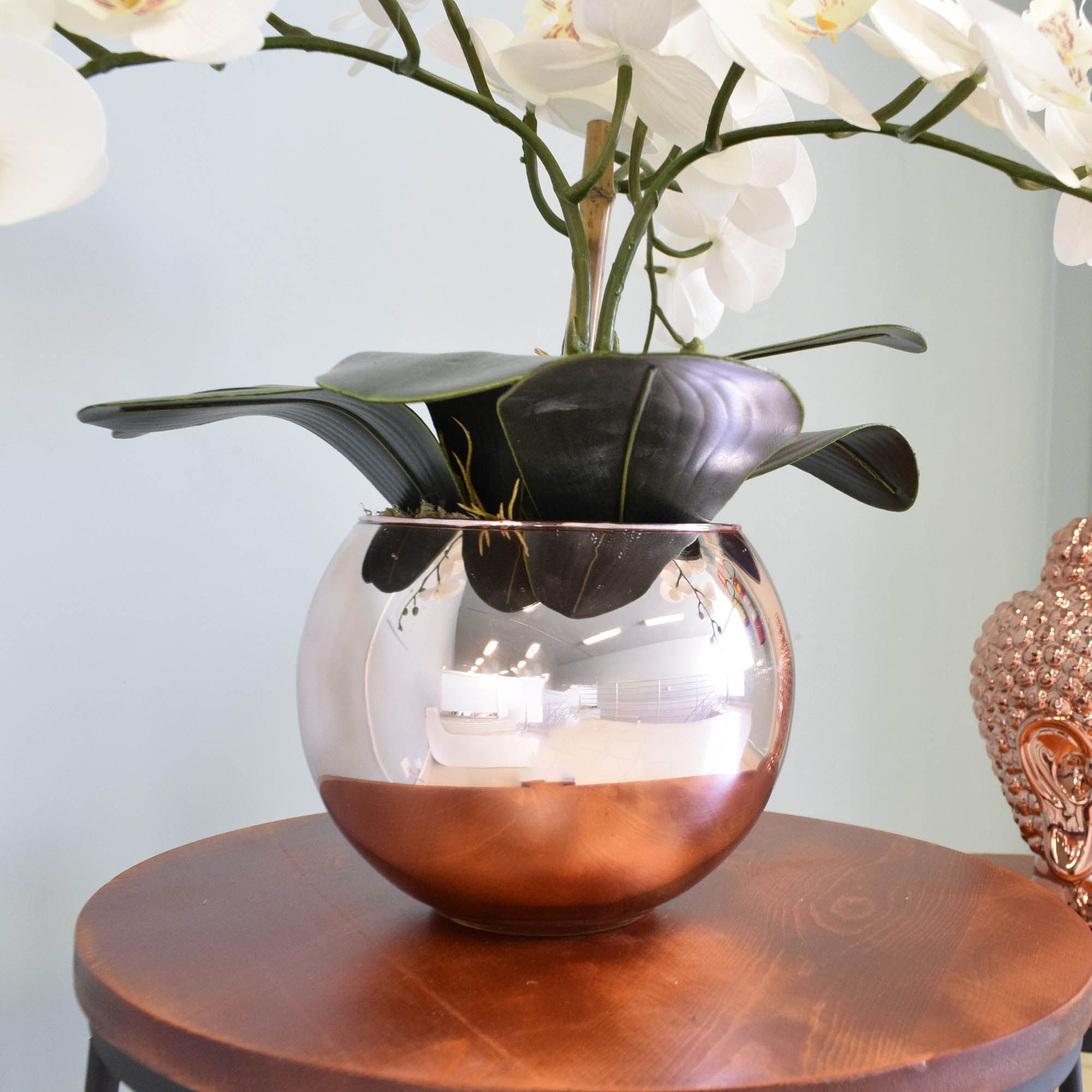 Flores artificiais Arranjo de Orquídeas Branco Artificial no Vaso Rose Gold|Linha permanente Formosinha
