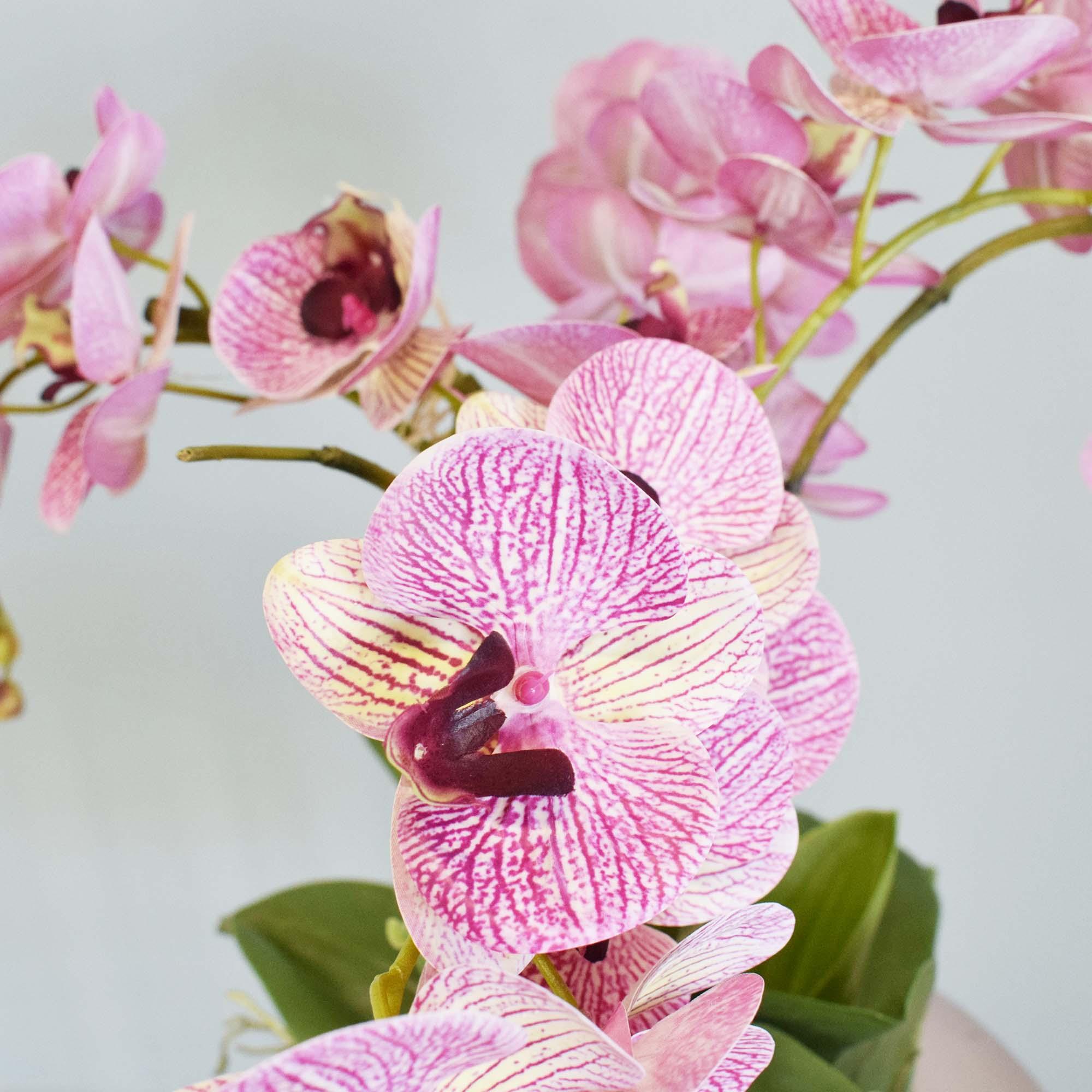Flores artificiais Arranjo de Flores Orquídeas Rosas no Vaso Rose Gold|Linha permanente Formosinha