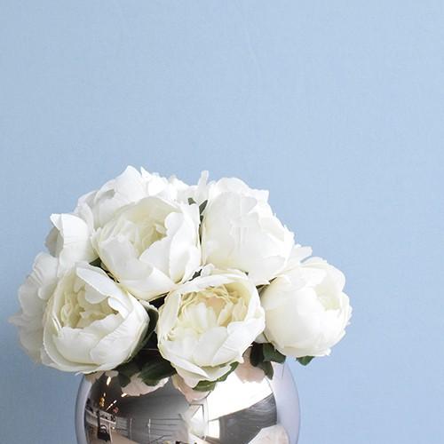 Arranjo de Peônias Artificial no Vaso Rose Gold Pequeno |Linha permanente Formosinha